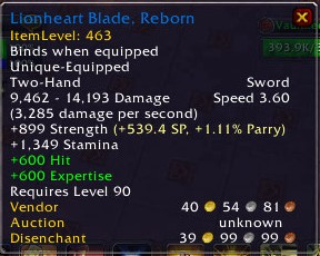 Lionheart Blade, Reborn Description