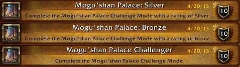 Mogu'shan Palace Challenger Achievements